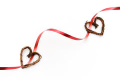 Valentine ribbon with hearts Stock Photo