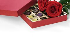 Valentine Ring, Chocolate and Roses Royalty Free Stock Photos