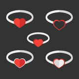 Valentine rings. Vector set of Valentine rings Stock Images