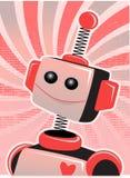 Valentine Robot Smile Swirl Halftone Stock Image