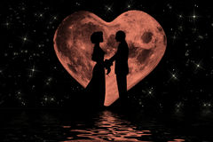 Valentine romantic atmosphere with heart shaped moon Stock Images