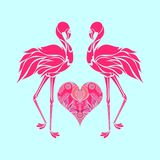 Valentine romantic card, two pink flamingos in love, vector. Illustration Stock Photos