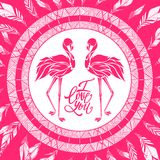 Valentine romantic card, two pink flamingos in love, vector. Valentine romantic card, two pink flamingos in love, vector illustration Royalty Free Stock Photo