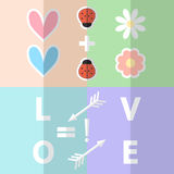 Valentine romantic clip art. Love hearts paper clipart with lady Stock Images
