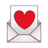 Valentine romantic envelopes with heart draw Royalty Free Stock Images