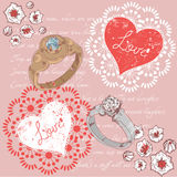 Valentine romantic retro postcard with rings Royalty Free Stock Photos