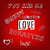 Valentine romantic words letters Royalty Free Stock Images