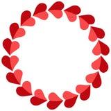 Valentine-rond, vector de fotokader van kaderharten voor gehouden van, malplaatje cirkelharten voor geliefd stock illustratie