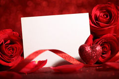 Valentine rose and blank card Stock Photos