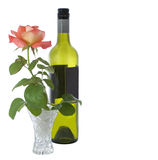 Valentine rose and bottle of wine Stock Image