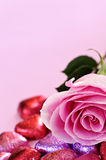 Valentine rose and candy Stock Image