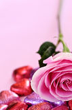 Valentine rose and candy Royalty Free Stock Image