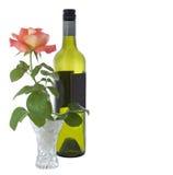 Valentine rose et bouteille de vin Image stock
