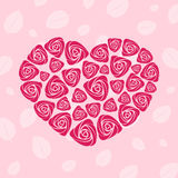 Valentine rose heart card Stock Photography