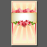 Valentine rose wreath. Valentine cardwith item such pink rose wreath, red bow and ribbon,etc Royalty Free Stock Images