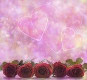 Valentine Roses et affiche de coeurs Images stock