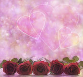 Valentine Roses and Hearts Poster Stock Images