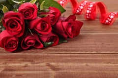 Valentine roses with red ribbon, copy space Royalty Free Stock Image