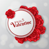 Valentine round frame with red roses. White, round paper frame with red roses for Valentine`s Day, for writing messages Royalty Free Stock Images