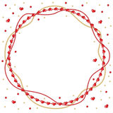 Valentine round greeting frame of gold and red beads Stock Image