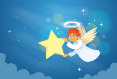 Valentine's Angel Cupid Flying Sky Hold Star Royalty Free Stock Photography