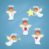 Valentine's Angel Cupid Group Saint Valentine Holiday Stock Photo