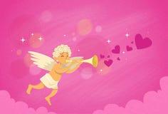 Valentine's Angel Cupid Holding Flute Saint Valentine Holiday Stock Photography