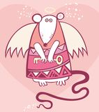 Valentine's angel rat. Cute vector valentine card. Vector angel art Stock Photos