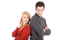 Valentine`s: Angry Couple Back To Back Royalty Free Stock Photography