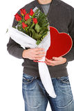 Valentine's: Anonymous Man With Candy And Flowers Gifts Royalty Free Stock Photo