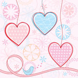 Valentine's background. Valentine's background with hearts and flowers Royalty Free Stock Photography
