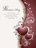 Valentine's Background. Abstract background with two hearts, roses' buds and swirls, with space for text Stock Photography
