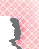 Valentine's Background. An illustration of a man and woman looking up on a valentine's background Stock Image