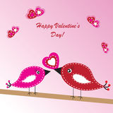 Valentine's background with birds and heart Stock Images
