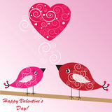 Valentine's background with birds and heart Stock Photo