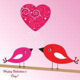 Valentine's background with birds and heart Stock Photos