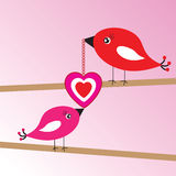 Valentine's background with birds and heart Stock Photography
