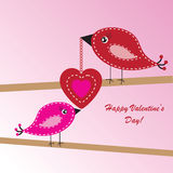 Valentine's background with birds and heart Royalty Free Stock Photos