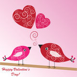 Valentine's background with birds and hearts Stock Image