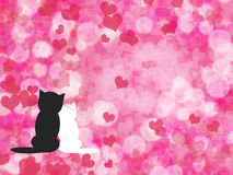 Valentine's background with cats Stock Image