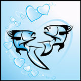 Valentine's background with fishes. In river, sea of love Royalty Free Stock Photos