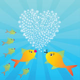 Valentine's background with fishes and heart Royalty Free Stock Image
