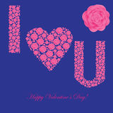 Valentine's background with floral heart Royalty Free Stock Images