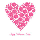Valentine's background with floral heart Stock Photo