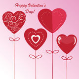 Valentine's background with four hearts. Valentine's background with four different hearts on pink phone Vector Illustration