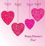 Valentine's background with four hearts. Valentine's background with hearts with ornament on pink phone Royalty Free Illustration