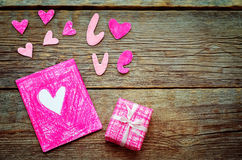 Valentine's background with a gift and card Stock Photos