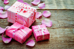 Valentine's background with gifts Stock Photography