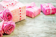 Valentine's background with gifts and flowers Royalty Free Stock Photography