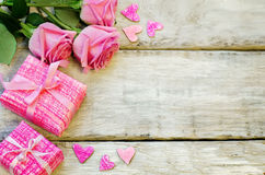 Valentine's background with gifts and flowers Royalty Free Stock Photo